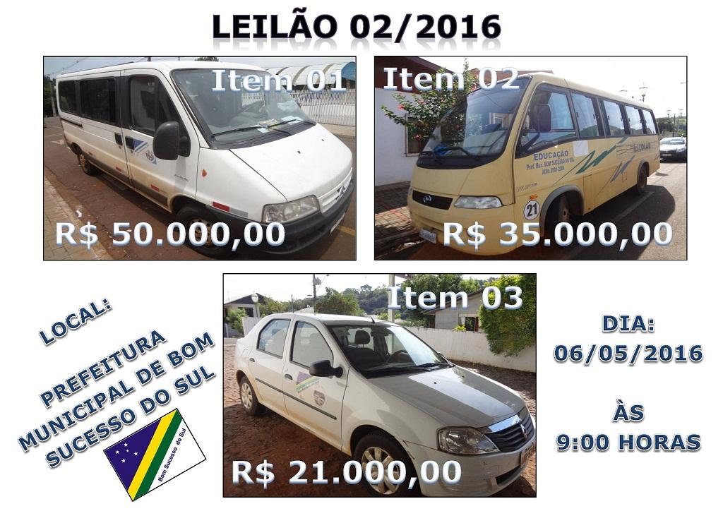 Bom S. do Sul – Prefeitura fará leilão de veículos no dia 6 de Maio