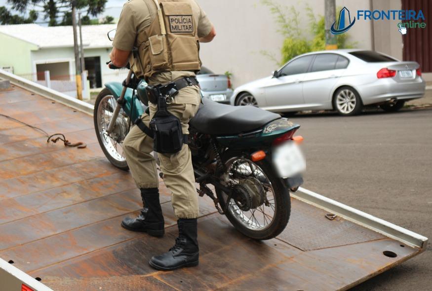 Dionísio Cerqueira – Motocicleta furtada em São Miguel e recuperada pela Policia Militar