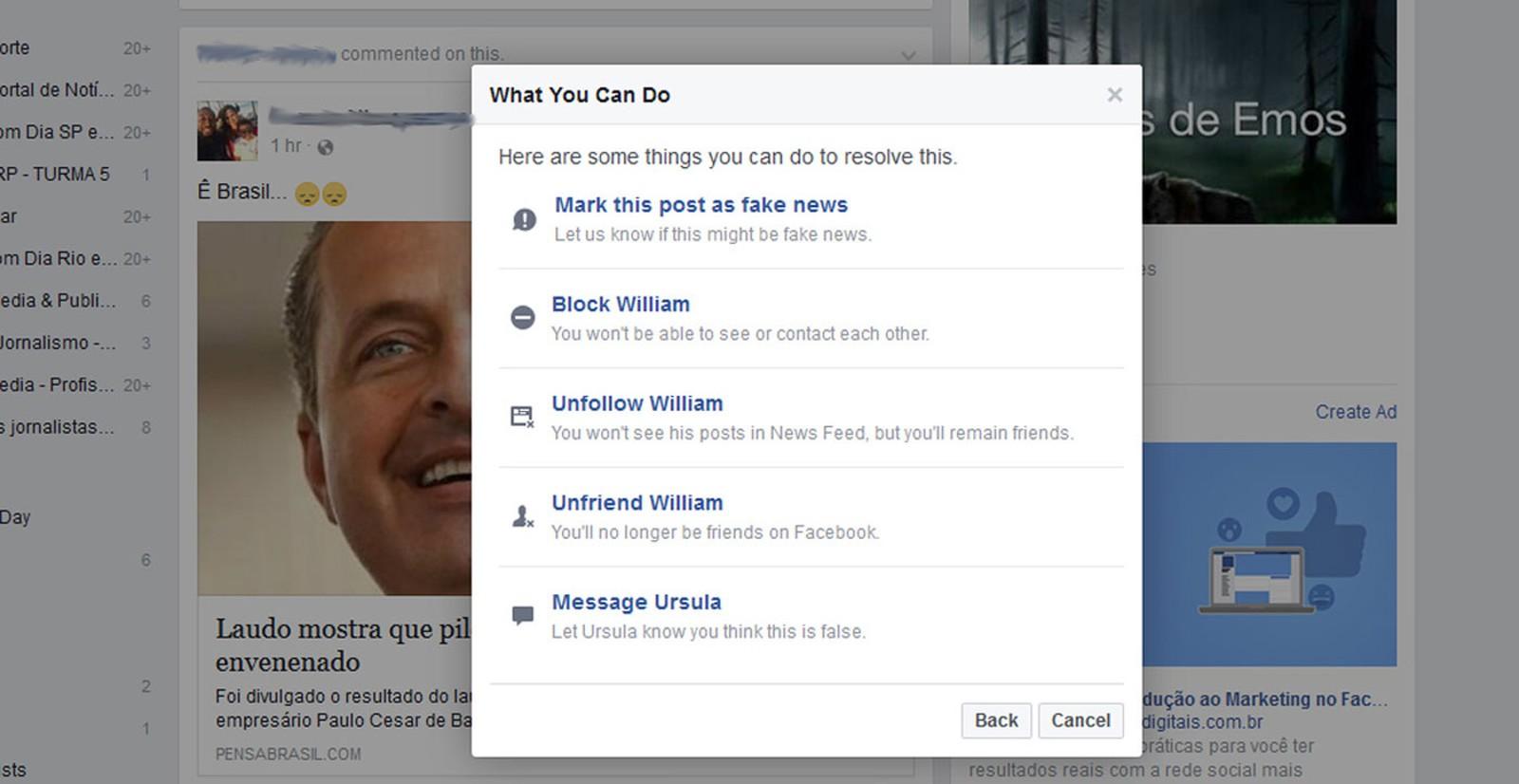 Facebook libera denúncia de 'notícias falsas'