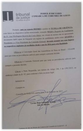 Juiz cassa candidatura de José Wellington Jr. à CGADB