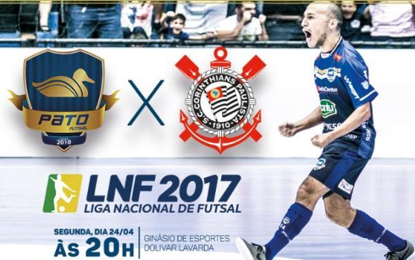 Pato recebe o Corinthians Futsal na noite de hoje (24) pela LNF