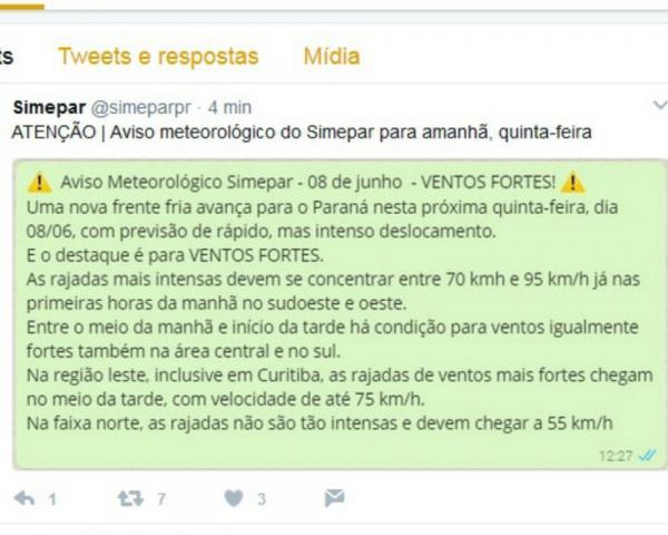 Previsão do Simepar é de ventos fortes no Paraná, com velocidade chegando até 95 km/h