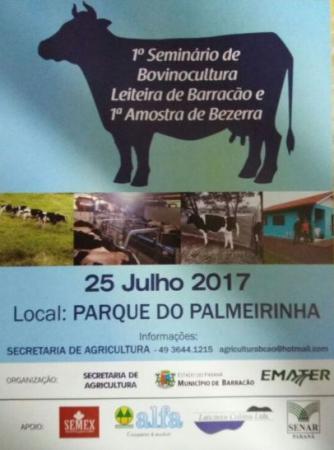 Barracão – I Seminário de bovinocultura leiteira será realizado na próxima terça feira (25)