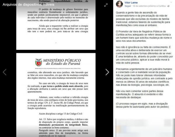 Paraná – Justiça nega pedido de alteração de documento de sexo feminino para masculino