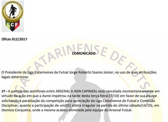 Liga Catarinense – ASME entra com recurso e Arsenal poderá ser eliminado