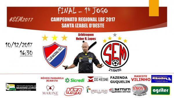 Nacional ASSIF e Marmeleiro começam decidir o Regional de Futebol com arbitragem de Heber Roberto Lopes