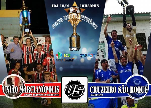 União Marcianópolis recebe Cruzeiro S. Roque pela ida da Copa dos Campeões na sexta 19