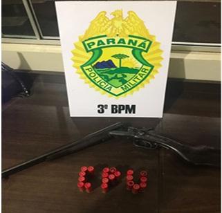PM apreende arma de fogo e munições