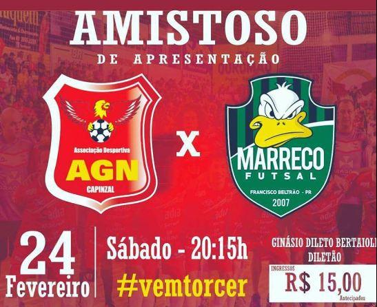 AGN Capinzal irá fazer apresentação dos uniformes e elenco em amistoso com Marreco Futsal