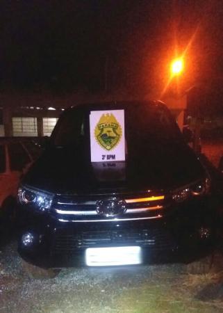 PM localiza camionete roubada, em Clevelândia
