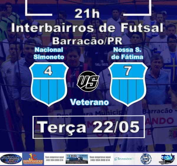 Barracão – Fátima vence Nacional e está na final do Interbairros Veterano