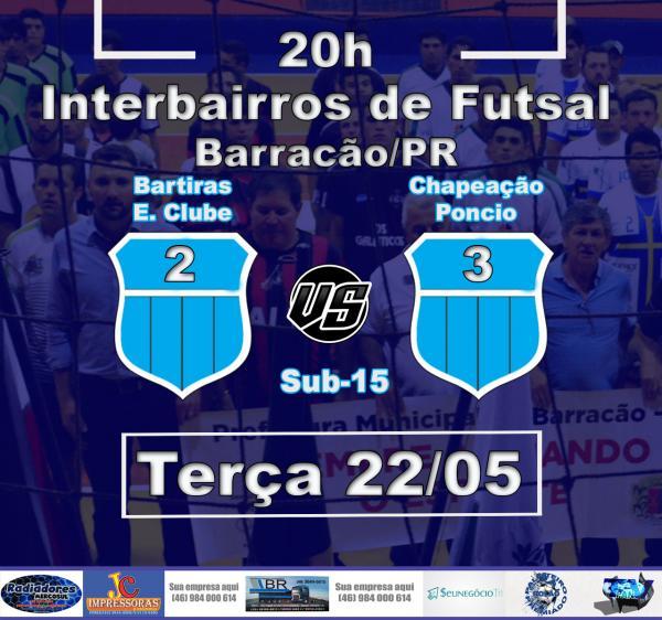 Barracão – Poncio leva a melhor sobre os Bartiras e fica com a vaga para a final do Interiorano de Futsal
