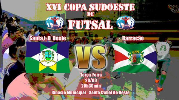 Santa Izabel do Oeste e Barracão Futsal se enfrentam hoje (28) em jogo adiado