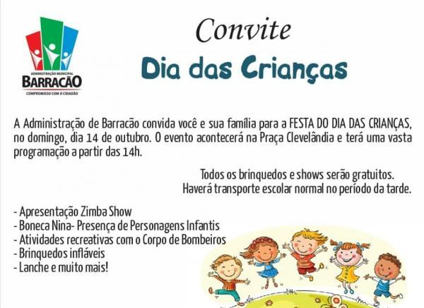Festa do Dia das Crianças Barracão