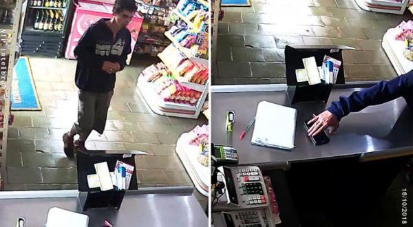 Ladrão é flagrado por câmeras furtando celular em mercado