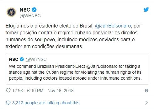 Conselho de Segurança dos EUA elogia Bolsonaro por posição contrária a Cuba; eleito agradece