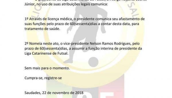 Presidente da Liga Catarinense pede afastamento por problemas de saúde