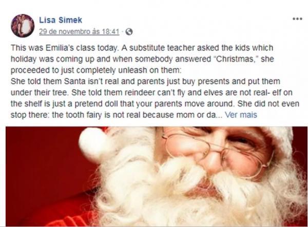 Mãe diz que professora ''destruiu espírito'' de natal depois de contar para crianças que Papai Noel não existe