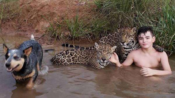 A história por trás da foto viral de um menino na lagoa com duas onças