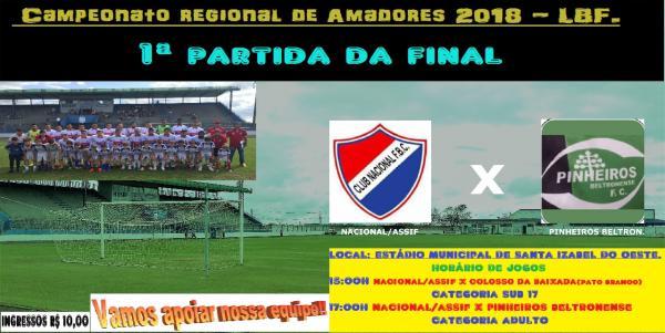 El Nacional ASSIF recebe o Pinheiros Beltrão no jogo de ida do Regional Amador de Futebol LBF