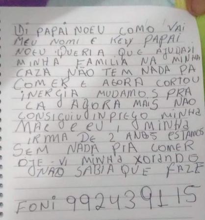 Menina de 5 anos escreve carta ao Papai Noel pedindo ajuda para a família,