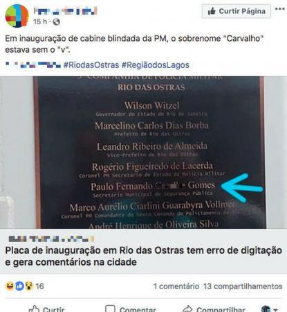 Secretário tem sobrenome trocado por ''palavrão'' em placa inaugural de cabine da PM no RJ