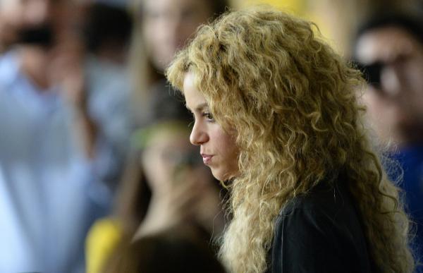 Shakira é vista antes do início da final da Copa das Confederações, no estádio do Maracanã, no Rio de Janeiro, em 2013 — Foto: Nelson ALMEIDA / AFP