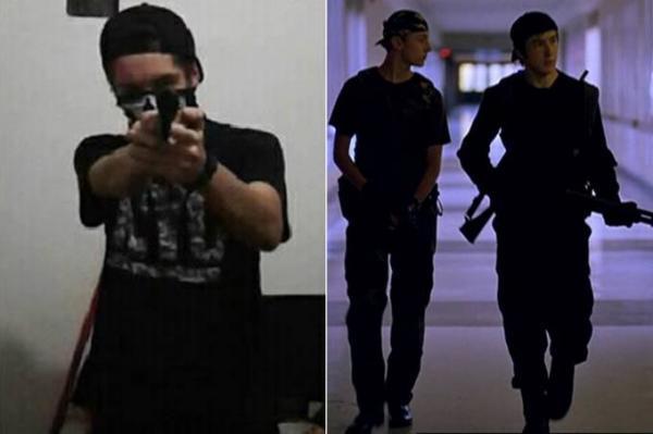 Guilherme Taucci, um dos autores de massacre em Suzano, e os personagens de Columbine Dylan Klebold e Eric Harris retratados no filme 'Elephant' (Facebook/Reprodução/Divulgação)