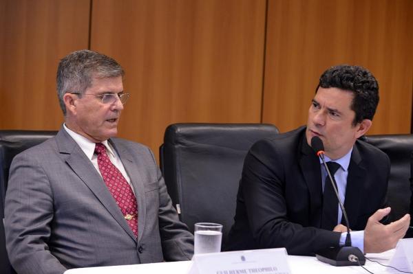 O ministro Sérgio Moro durante o lançamento da plataforma de estatísticas no Ministério da Justiça e Segurança Pública nesta sexta-feira (15) — Foto: Isaac Amorim/MJSP