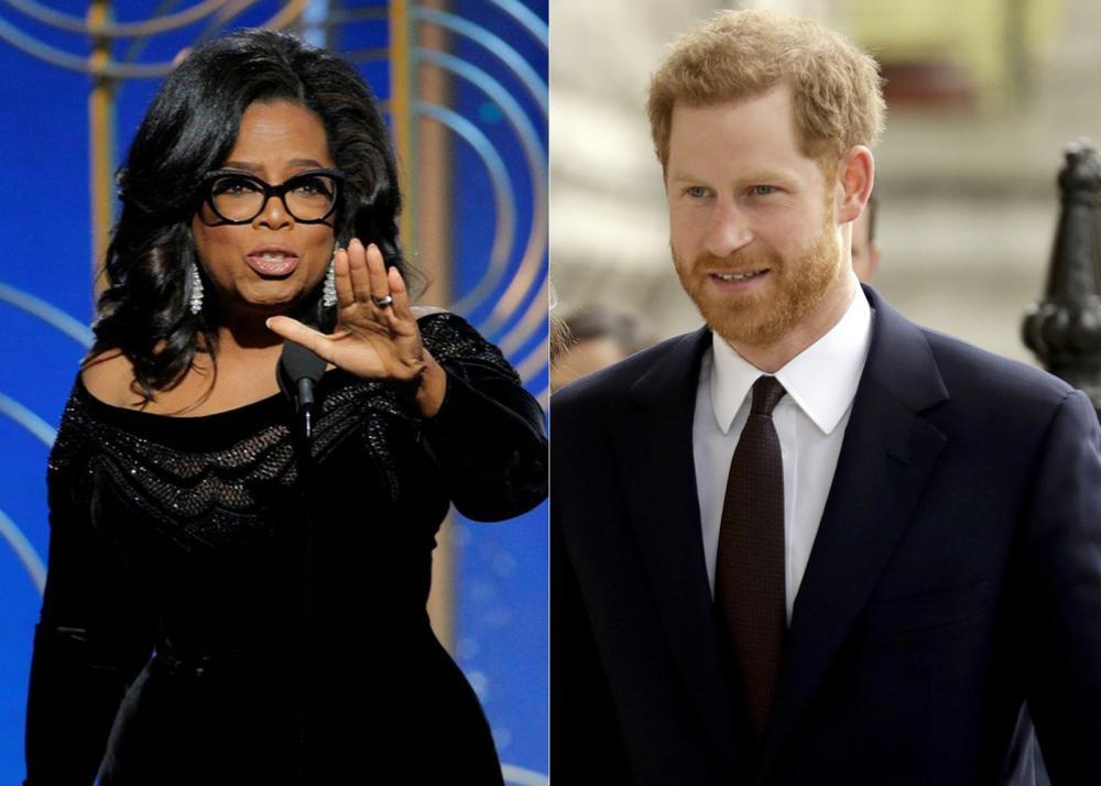 Oprah e Príncipe Harry — Foto: Montagem/Reuters/AP