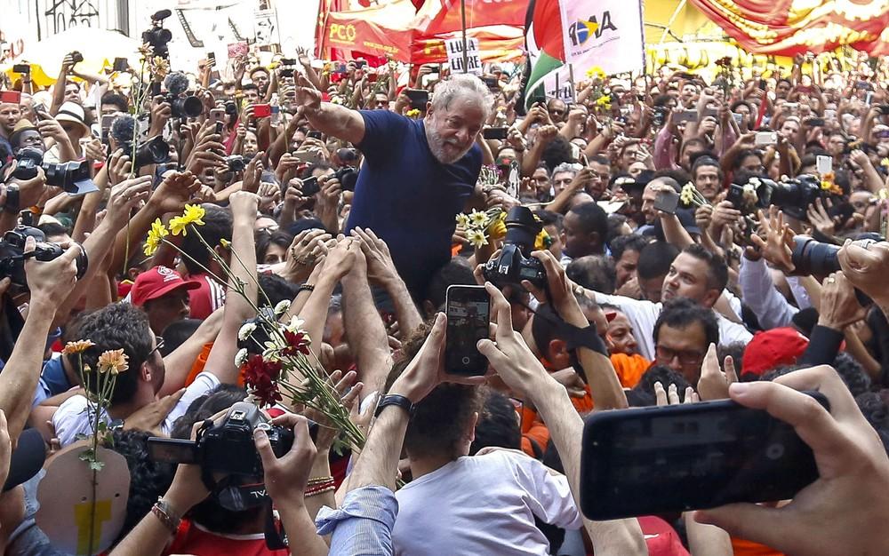 O ex-presidente Lula, em 7 de abril de 2018, em São Bernardo do Campo (SP) — Foto: Miguel Schincariol/AFP