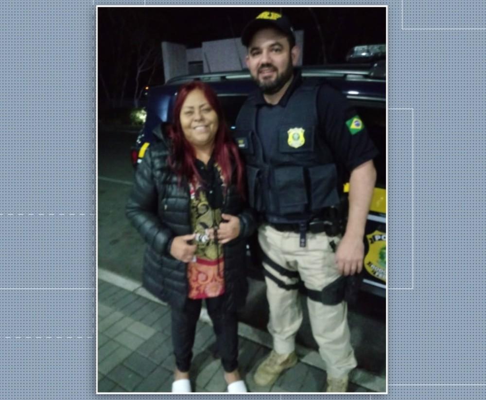 Mulher foi de Ponta Grossa, nos Campos Gerais, até Campo Largo, na Região de Curitiba, com a ajuda da polícia — Foto: RPC/Reprodução