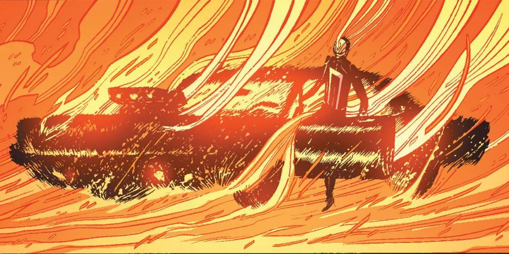 A versão Robbie Reyes do 'Motoqueiro Fantasma' dirige um carro — Foto: Reprodução