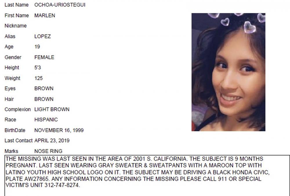 Marlen Ochoa-Lopez, de 19 anos, estava desaparecida desde o dia 23 de abril. O corpo dela foi encontrado nesta quarta-feira (15). — Foto: Chicago Police/Chicago Tribune via AP