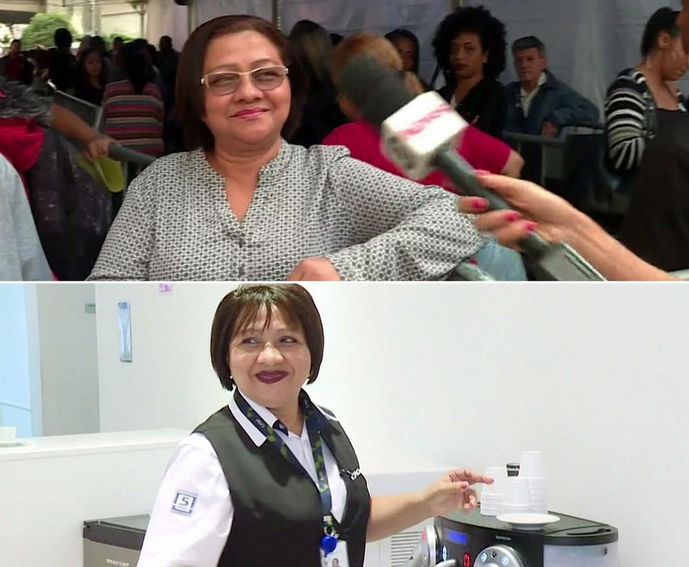 Francisca Viana na fila por um emprego no mutirão no Vale do Anhangabaú (acima) e já trabalhando em uma concessionária (abaixo) — Foto: GloboNews/Reprodução