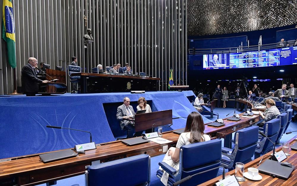 Plenário do Senado durante sessão em 29 de maio — Foto: Waldemir Barreto/Agência Senado