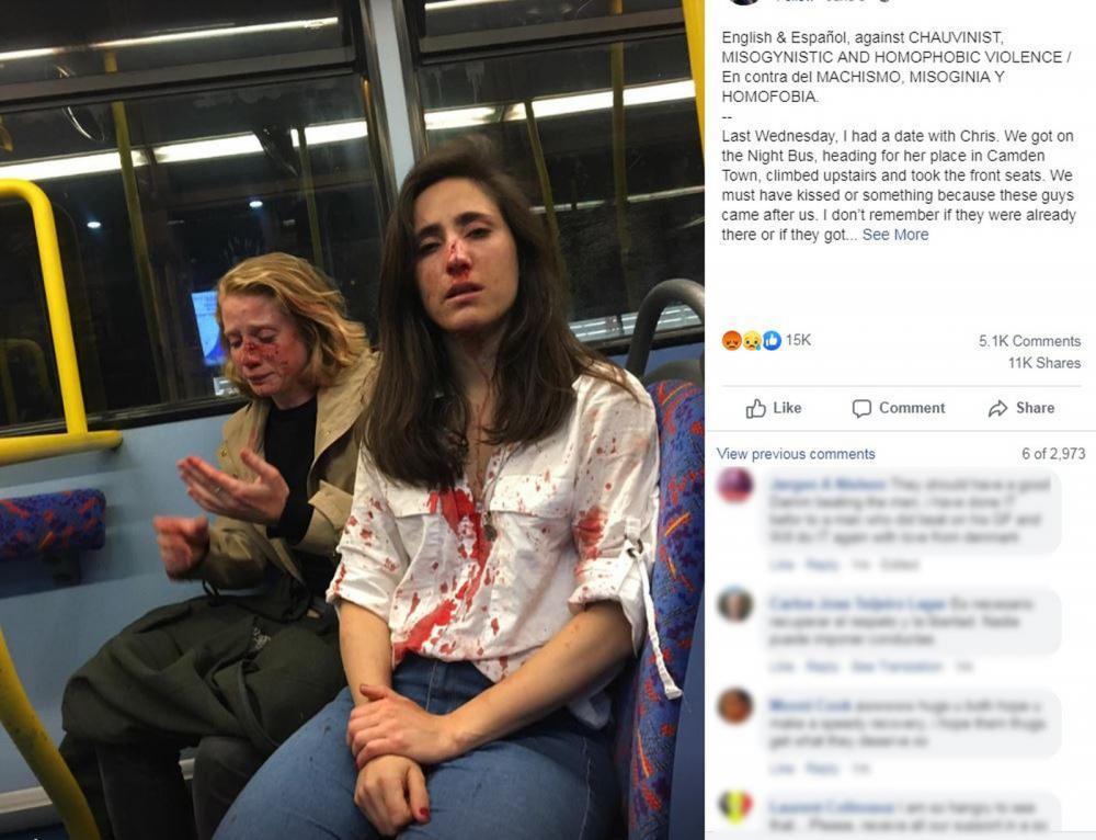 Reprodução da página de rede social com a descrição do ataque em Londres — Foto: Reprodução/Facebook