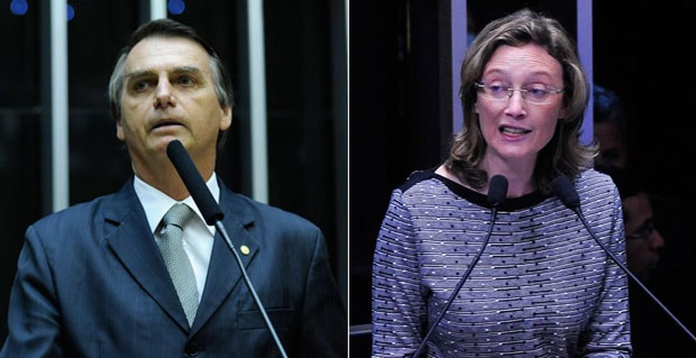Jair Bolsonaro (quando ainda era deputado) e a deputada Maria do Rosário — Foto: Gabriela Korossy e Luis Macedo / Câmara dos Deputados