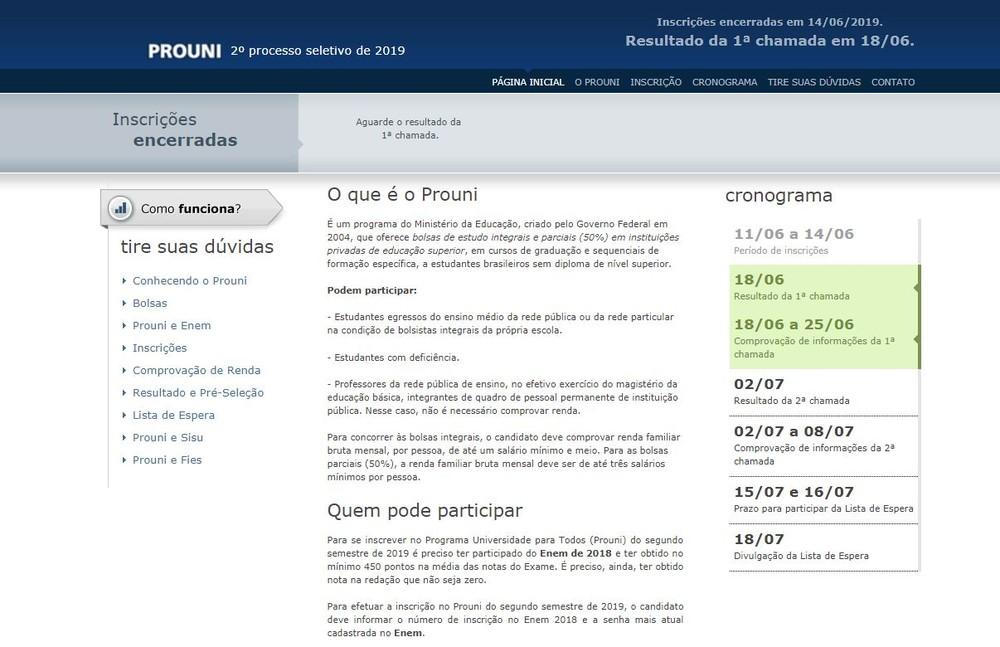 Resultados do Prouni serão divulgados nesta terça (18) — Foto: Reprodução