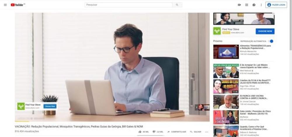 Alguns vídeos contra vacinas encontrados pela BBC News Brasil exibiam anúncios, ou seja, estavam monetizados no YouTube — Foto: Reprodução/Youtube