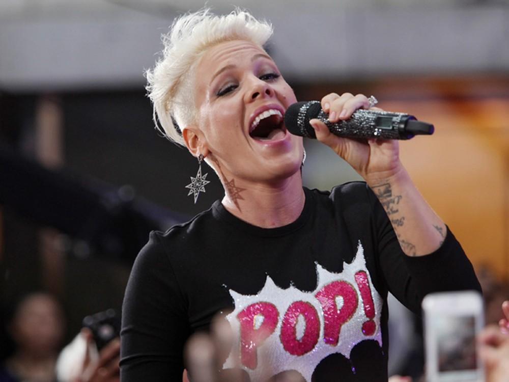 A cantora Pink em apresentação nos EUA em 2016 — Foto: AFP/Roger Kisby