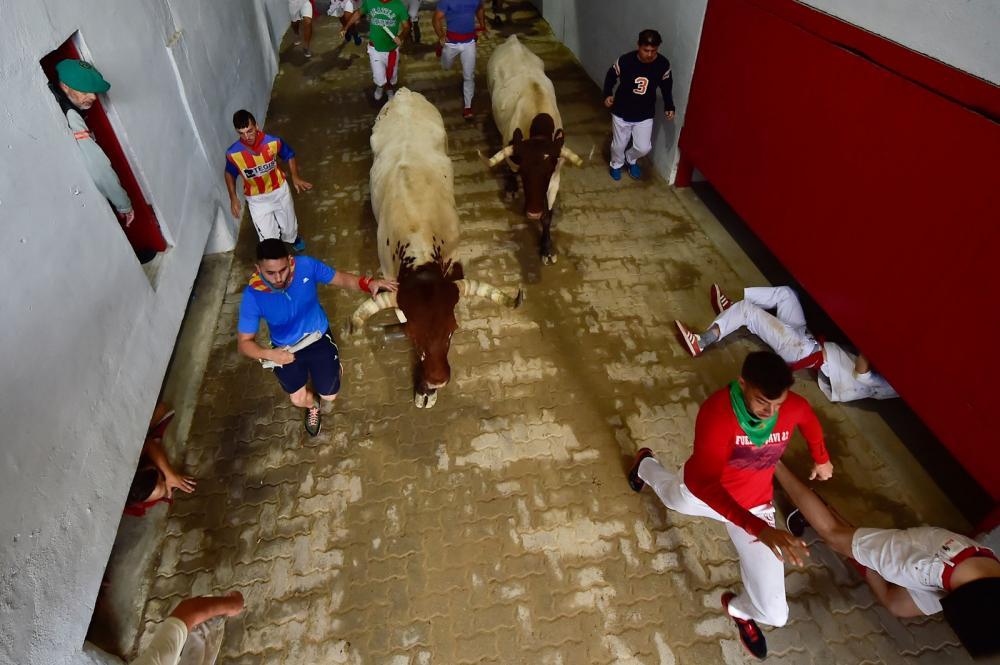 Festa de São Firmino, em Pamplona, no norte da Espanha, chegou ao último dia neste domingo (14), após uma semana de corridas com touros. — Foto: Alvaro Barrientos/AP