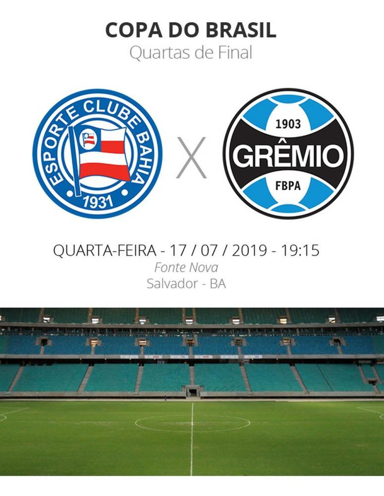 Bahia e Grêmio se enfrentam às 19h15 — Foto: Arte / GloboEsporte.com