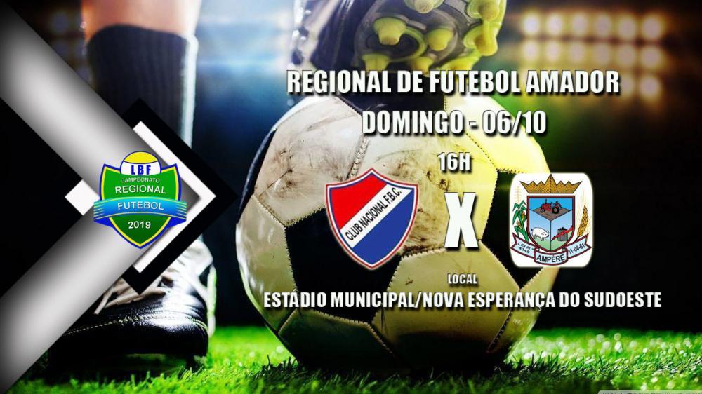 Nacional e Ampére duelam domingo (06) pela liderança do Regional de Futebol