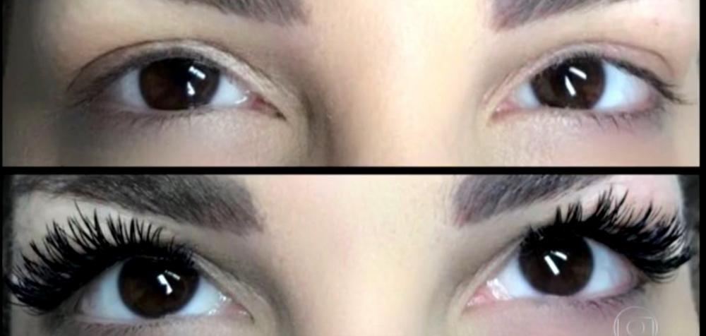 Antes e depois do alongamento dos cílios — Foto: Reprodução/TV Globo