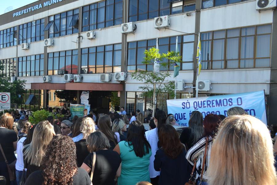 Paralisação dos professores de Francisco Beltrão/Foto: Badger Vicari JdeB