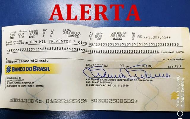 APAE's da região são vítimas de estelionatos em cheques falsificados