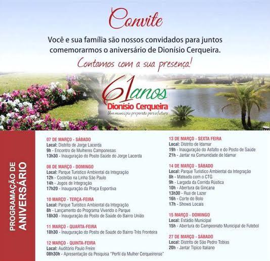 Município de Dionísio Cerqueira divulga programação do  aniversário de 61 anos