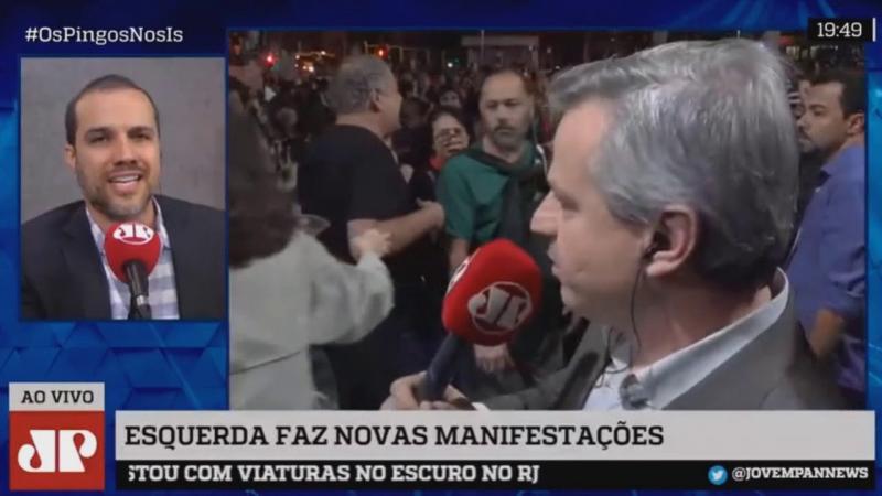 Repórter da Jovem Pan é hostilizado durante manifestação em São Paulo
